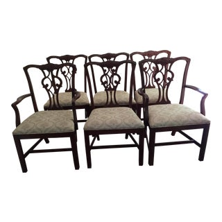 Late 19th Century English Mahogany Chippendale Dining Chairs- Set of 6 For Sale