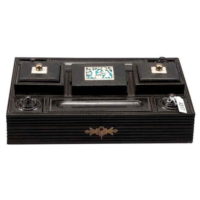 Anglo Raj Ebony & Ivory Desk Set - Image 1 of 7