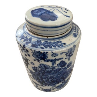 1950s Blue and White Porcelain Tea Caddy With Lid For Sale