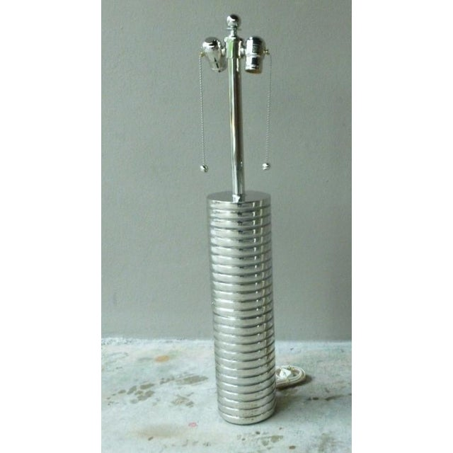 1970s Large 1970s Laurel Towering Chrome Steel Lamps With Chromed Steel Shades - a Pair For Sale - Image 5 of 8