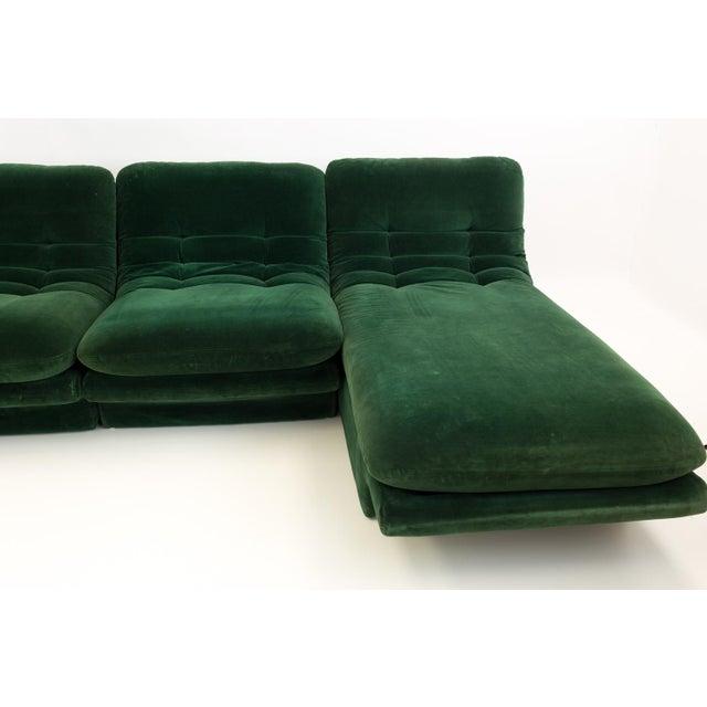 Mid 20th Century Mid-Century Modern Vladimir Kagen for Preview Hunter Green Velvet Sectional Sofa For Sale - Image 5 of 12
