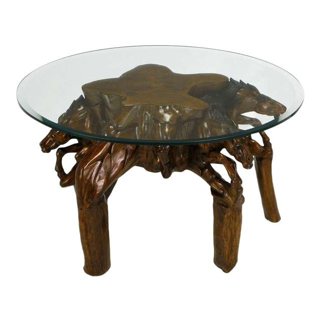 Incredible Equine Carved Wood Coffee Table - Image 1 of 9