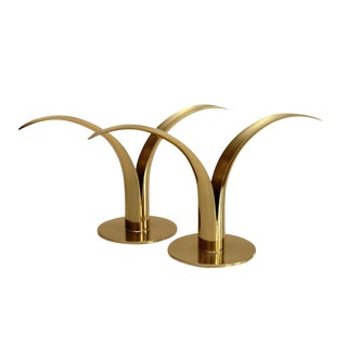 Swedish Brass Candlesticks- A Pair