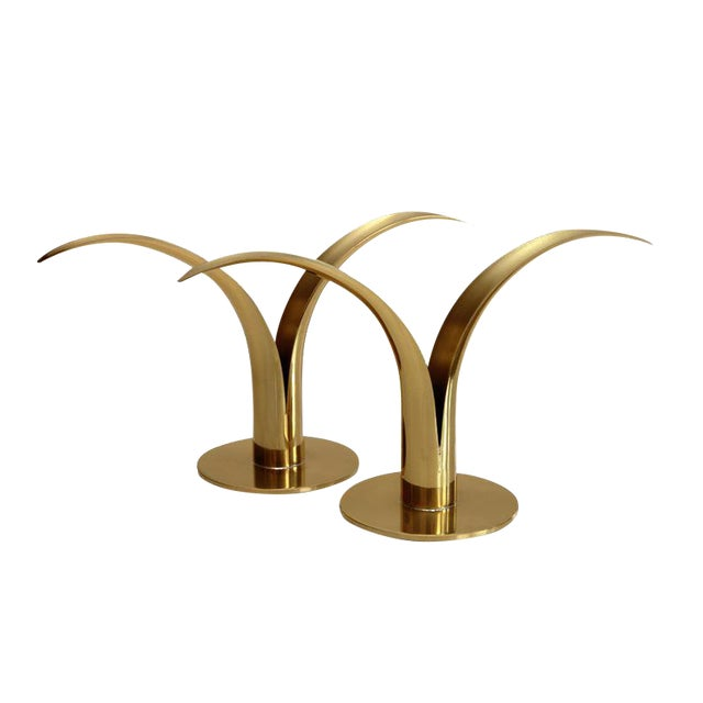 Swedish Brass Candlesticks- A Pair - Image 1 of 5