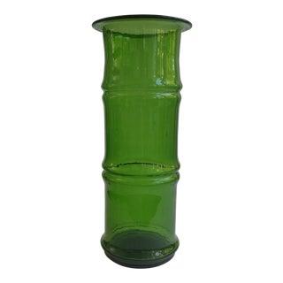 Mid Century Chinoiserie Blenko Bamboo Green Glass Vase For Sale