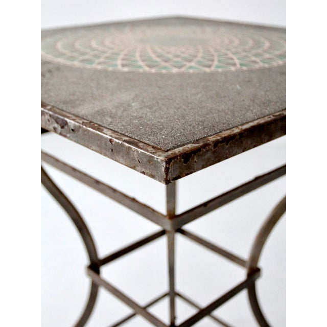 Vintage Mosaic Tall Patio Table - Image 7 of 11