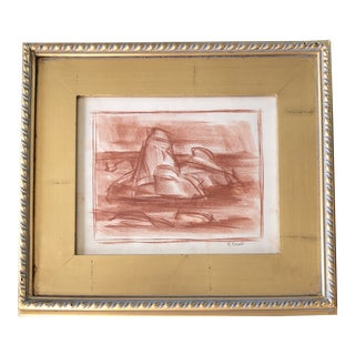 Original Vintage Eleanor Reed Southwest Sepia Drawing Gilt Frame For Sale
