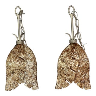 Abalone Capiz Shell Leaf Pendant Lights - a Pair For Sale