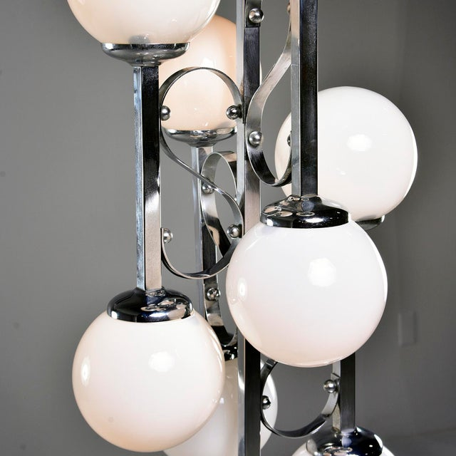 Mid-Century Italian Chrome Floor Lamp With White Glass Globes For Sale In Detroit - Image 6 of 13