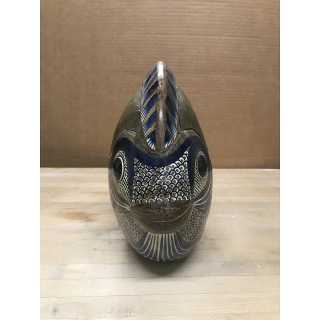 Mid-Century Modern Vintage Tonala Brass and Ceramic Fish For Sale - Image 3 of 7