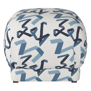 Ottoman in Navy Ribbon by Angela Chrusciaki Blehm for Chairish Preview