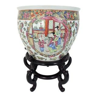 Fine Antique Chinese Qianlong Porcelain and Gilt Planter For Sale