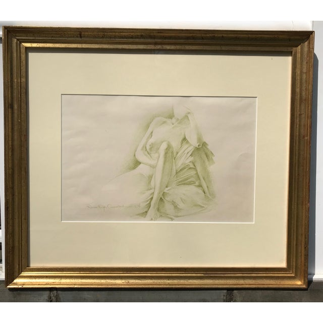 Tan Robert Ralph Carmichael 1970s Vintage Nude Woman Graphite Drawing For Sale - Image 8 of 8
