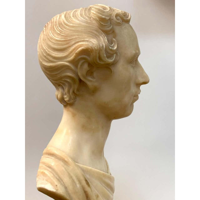 Italian Neoclassical Alabaster Portrait Bust of a Gentleman, by Insom Fece, 1839 For Sale - Image 9 of 12