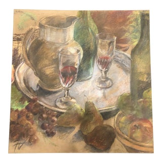 French Provincial Table Scape Still Life Pastel Painting For Sale