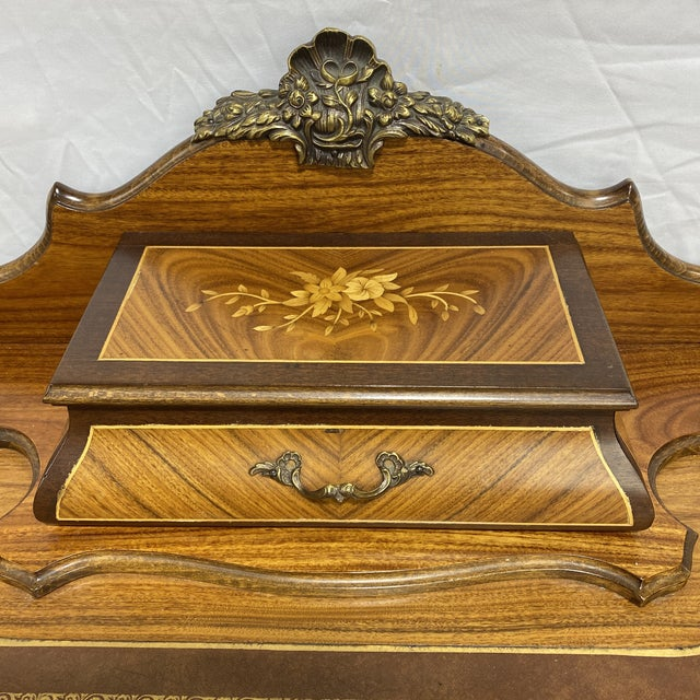 1960s Ladies Writing Desk Ormalu Marquetry For Sale - Image 5 of 13