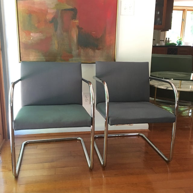 Pair of chrome Brno chairs by Mies Van Der Rohe for Thonet, classic Bauhaus design, one chair retains original label....