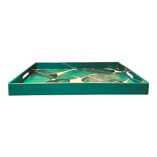 Large Kelly Green Lacquer Banana Leaf Serving Tray For Sale