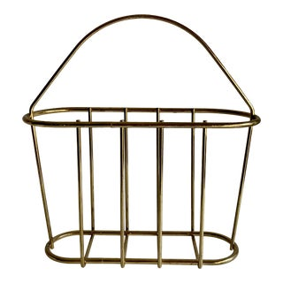 Vintage Brass Plated Magazine Rack For Sale