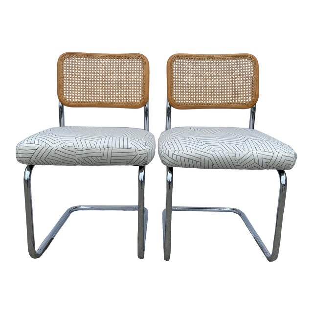 Vintage Chrome and Cane Chairs- A Pair For Sale