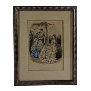 Lyrical Framed Lithograph Of Two French Women For Sale