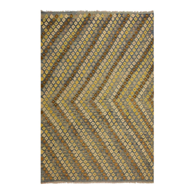 Shabby Chic Abstract Zorion Blue/Brown Hand-Woven Kilim Wool Rug -6'1 X 7'9 For Sale