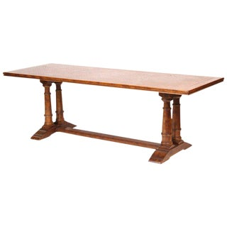 1980s Baroque Style Rectangular Oak Dining Room Table