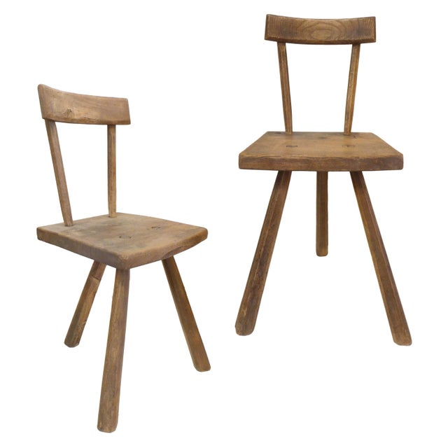 Pair of French 3-Legged Chairs Attributed to Jean Touret For Sale In Los Angeles - Image 6 of 6