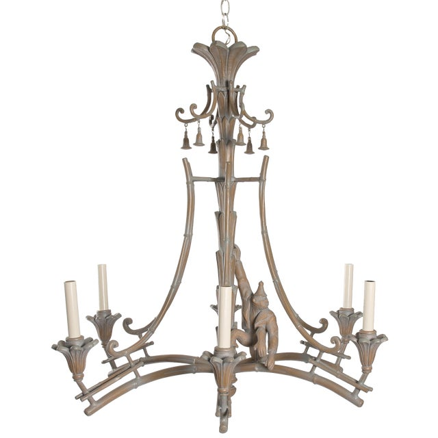 Serge Roche Style Plaster Chinoiserie Palm Chandelier - Image 1 of 7