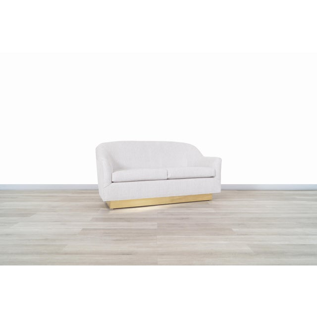 Mid-Century Modern Vintage Brass Loveseat by Milo Baughman for Thayer Coggin For Sale - Image 3 of 12