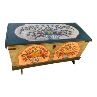 19th-C. Hand-Painted Trunk/ Blanket Chest For Sale