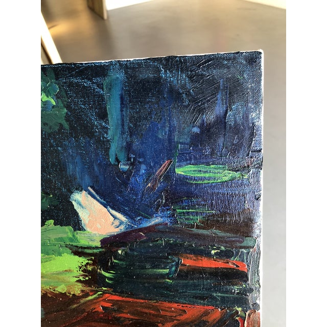 """Abstract Expressionism """"Red Wagon"""" Oil Painting on Canvas For Sale - Image 3 of 8"""