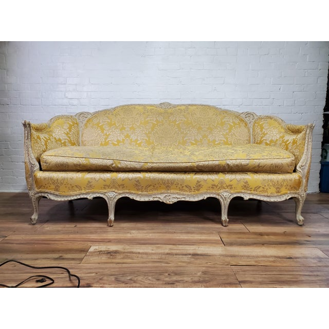 Antique French Louis XV Style Couch Beautiful Vintage Yellow and Ivory Brocade Damask Upholstery Carved Wood Frame with...
