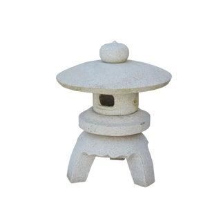 Chinese Zen Off White Round Stone Garden Lantern Statue