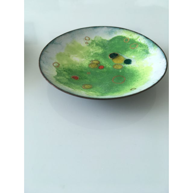 Blue Vintage Green and Primary Color Enamel on Copper Dishes - Set of Four For Sale - Image 8 of 12