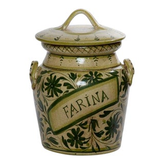 Italian Hand Painted Ceramic Farina Canister For Sale