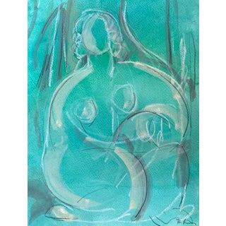 Figurative Drawing 'Green Dream' Seated Nude For Sale