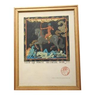 """Original Antique Art Deco Limited Edition Print-Georges Barbier-""""Celui Qui MonteUnCheval Noir"""" For Sale"""
