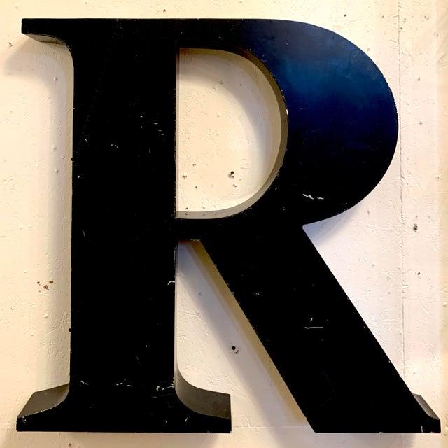 Black Vintage Metal Letter R For Sale - Image 8 of 8