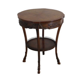 1920's French Walnut Marquetry Inlaid Round Side Table For Sale