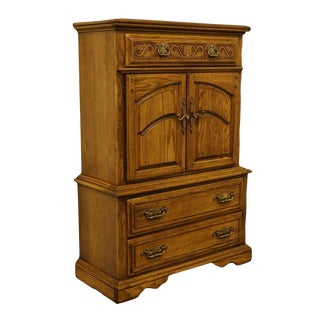 American Drew Country French Solid Oak Door Chest For Sale
