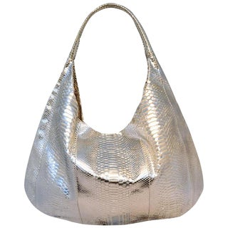 Devi Kroell Silver Snakeskin Hobo Shoulder Bag For Sale