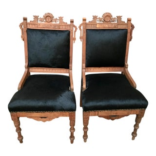 Antique Throne Chairs Reupholstered With Black Hair on Hide - a Pair For Sale