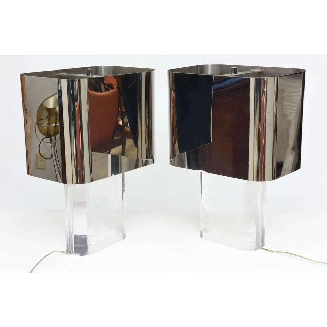 Metal American Modern Pair of Lucite and Polished Chrome Lamps, Karl Springer For Sale - Image 7 of 8