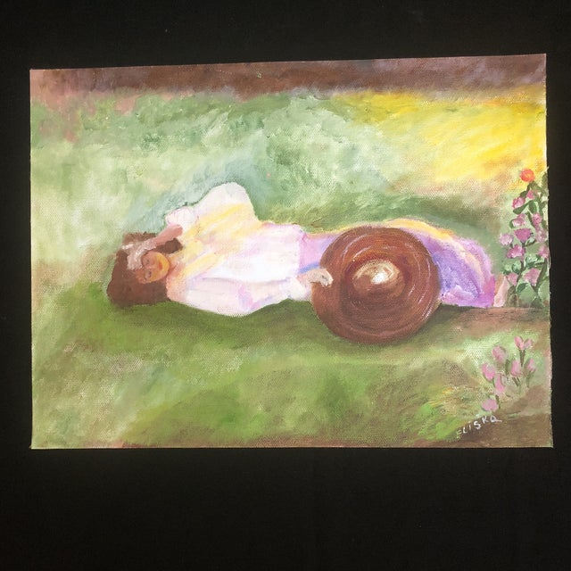 "2000 - 2009 Lisa Burris Hand Painted Copy of ""The Millinery Shop"" by Edward Degas For Sale - Image 5 of 10"