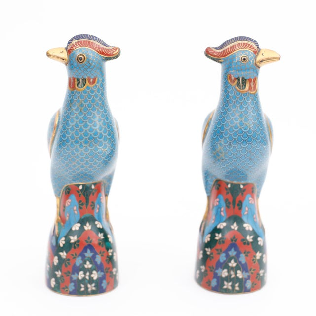 Intriguing pair of vintage Chinese cloisonne or enamel on brass birds with quizzical expressions, colorful wings and...