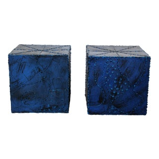 Mid Century Modern Square Side End Tables Paul Evans Argente Style - a Pair For Sale