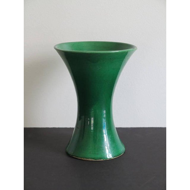 A wonderful late 19th century meiji period green japanese awaji hand-thrown pottery trumpet vase. Condition on the vase is...
