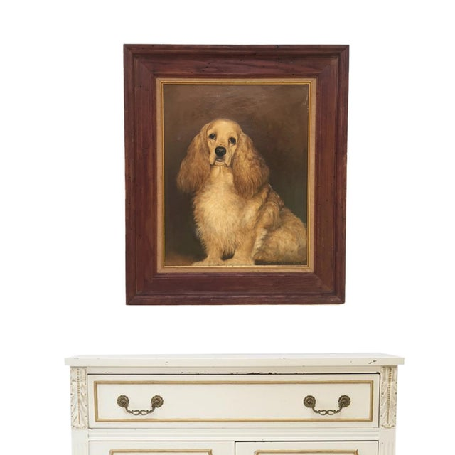 Vintage framed dog oil painting on canvas. The piece depicts a cocker spaniel. Vintage Framed & Matted Oil on Canvas....