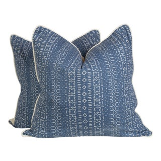 Blue Tribal Pillows, a Pair For Sale